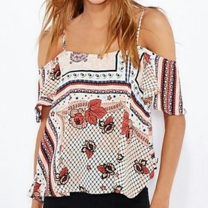 Topshop Pink Geo Floral Print Off the Shoulder Top